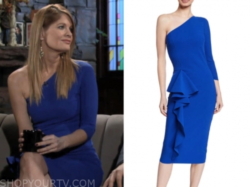 michelle stafford, phyllis newman, the young and the restless, blue one-shoulder dress