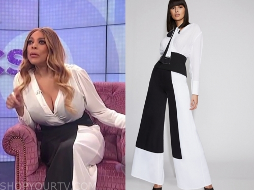 wendy williams, the wendy williams show, black and white colorblock pants, white top