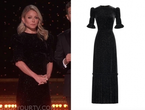 kelly ripa, live with kelly and ryan, black velvet gown