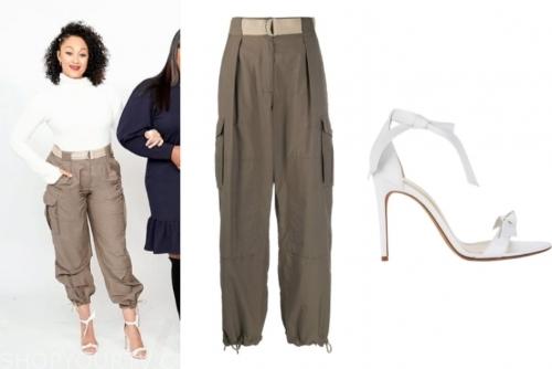 the real, tamera mowry, white sandals, khaki pants