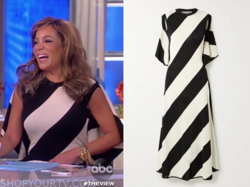 sunny hostin, black and white stripe cape dress, the view