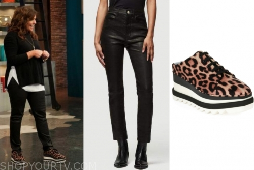 rachael ray, the rachael ray show, black leather pants, leopard sneakers