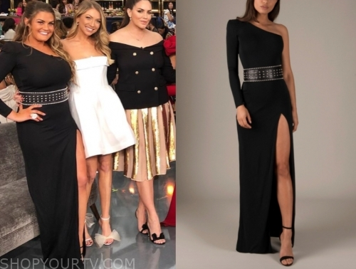 brittany cartwright, E! news, black one-shoulder gown