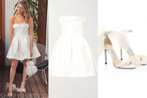 stassi schroeder, E! news, white strapless mini dress, white bow sandals