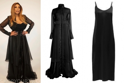 wendy williams, the wendy williams show, black slip dress, black shirt dress