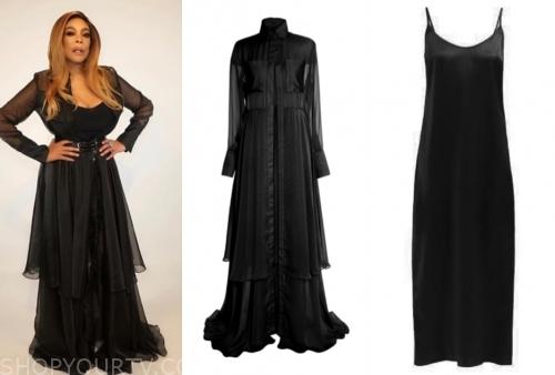 wendy williams, the wendy williams show, black slip dress, black shirt dress