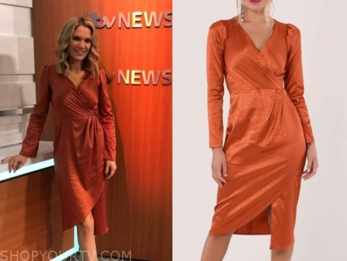 charlotte hawkins, orange drape wrap dress, good morning britain