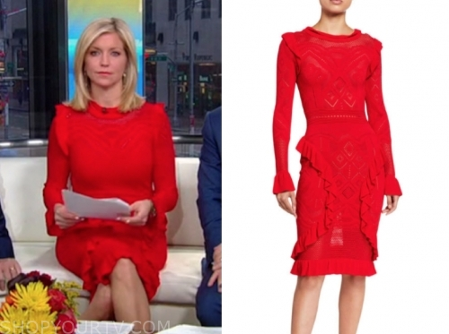 ainsley earhardt, fox and friends, red knit ruffle dress
