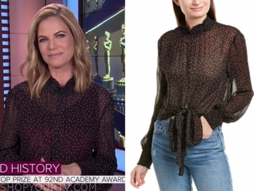 natalie morales, the today show, printed tie-front blouse