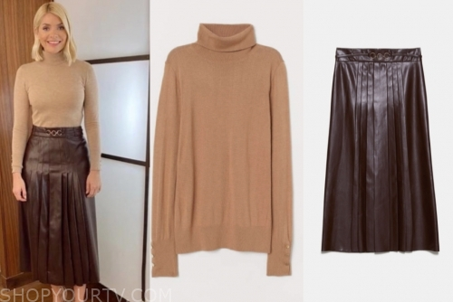 holly willoughby, this morning, beige turtleneck, leather pleated midi skirt