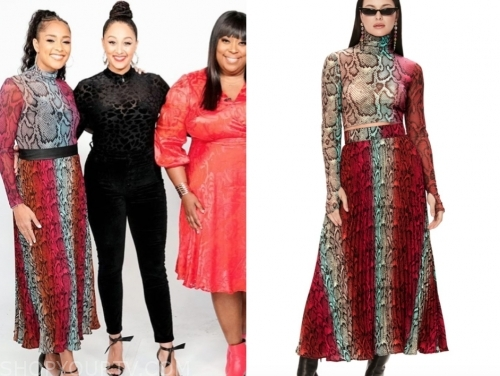 the real, amanda seales, snakeskin turtleneck dress