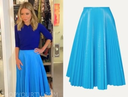kelly ripa, blue pleated skirt, live with kelly and ryan