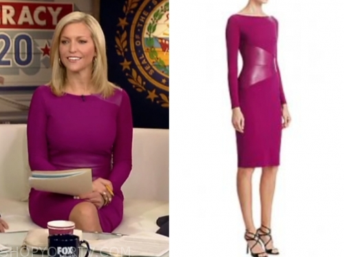 ainsley earhardt, fox and friends, purple leather panel dress