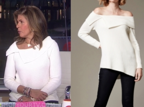 hoda kotb, the today show, white asymmetric fold sweater