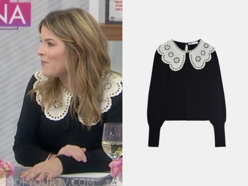 jenna bush hager, the today show, black lace collar sweater