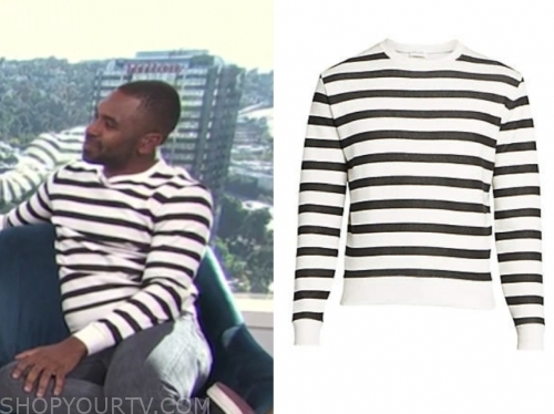justin sylvester, e! news, daily pop, black and white striped sweater