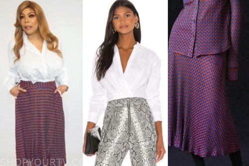 the wendy williams show, wendy williams, white shirt, printed midi skirt