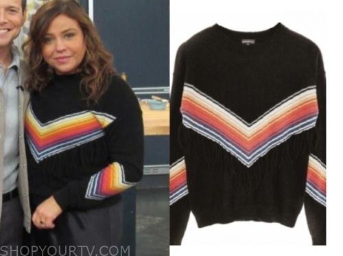 rachael ray, the rachael ray show, black stripe fringe sweater