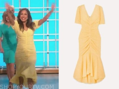 carrie ann inaba, yellow gingham dress, the talk