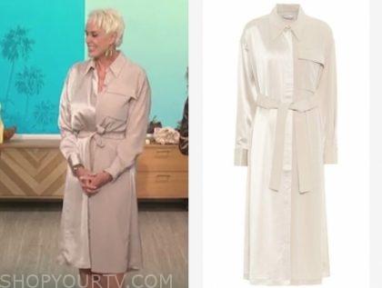 the talk, brigitte nielsen, ivory satin shirt dress