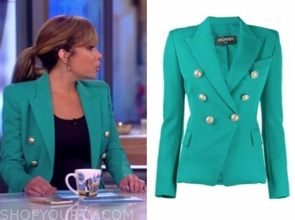 the view, sunny hostin, teal double breasted blazer