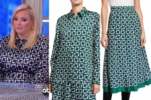 meghan mccain, the view, printed blouse and skirt