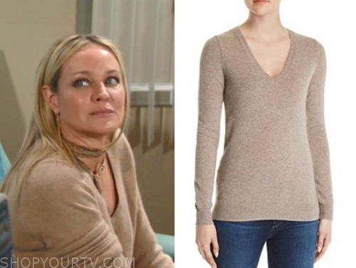 sharon case, sharon newman, the young and the restless, beige cashmere sweater