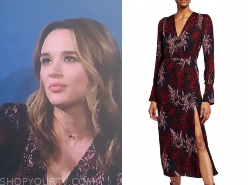summer newman, hunter king, the young and the restless, floral midi dress