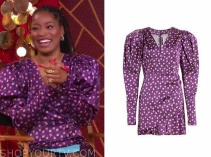keke palmer, gma3, purple puff sleeve dress