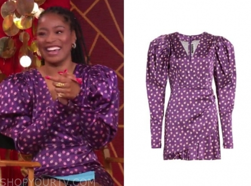 keke palmer, gma3, purple puff sleeve dress