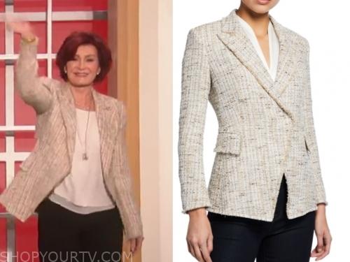 sharon osbourne, ivory tweed jacket, the talk