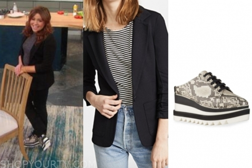 rachael ray, the rachael ray show, black blazer, snakeskin sneakers