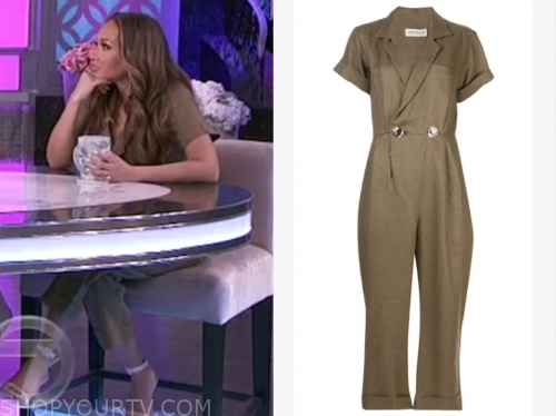 adrienne bailon, the real, olive green jumpsuit