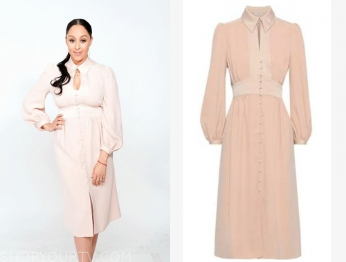 the real, blush pink keyhole midi dress, the real