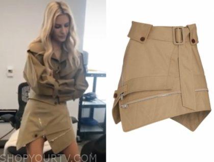 morgan stewart, E! news, trench belted skirt