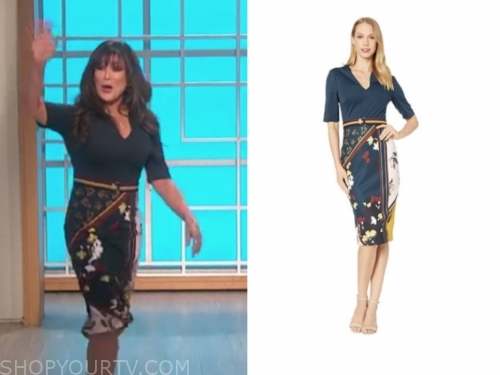 the real, marie osmond, navy blue floral belted dress