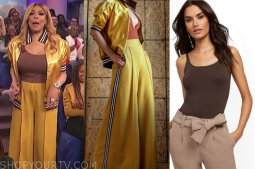 wendy williams, the wendy williams show, yellow satin jacket and pants, brown tank top
