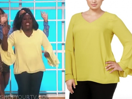 sheryl underwood, yellow bell sleeve top, the talk