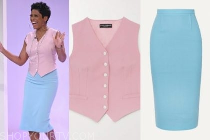 tamron hall, tamron hall show, pink vest, blue pencil skirt