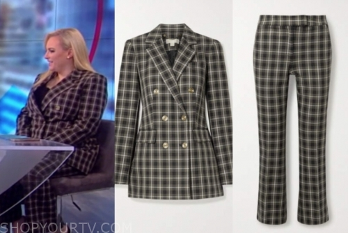 meghan mccain, the view, plaid pant suit