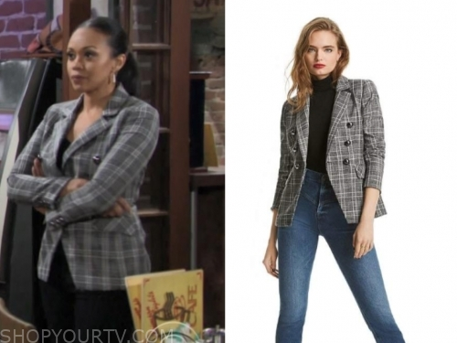 the young and the restless, amanda sinclair, mishael morgan, plaid double breasted blazer