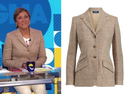 robin roberts, good morning america, herringbone blazer