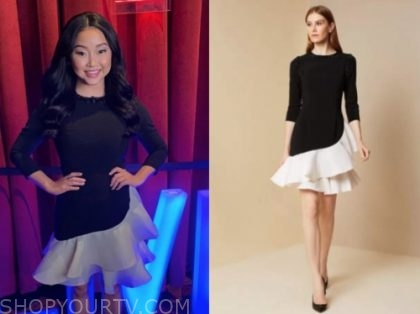live with kelly and ryan, lana condor, black and white ruffle dress