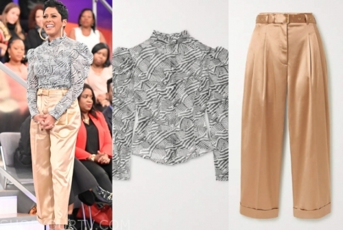 tamron hall, tamron hall show, high neck blouse, satin pants