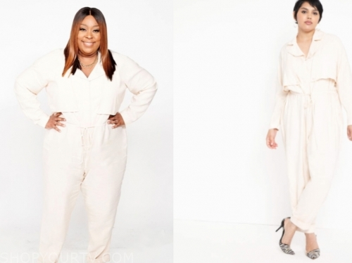 the real, loni love, ivory utility jumpsuit
