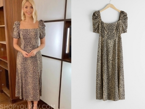 leopard puff sleeve midi dress, this morning, holly willoughby