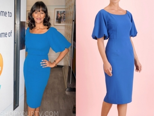 ranvir singh, good morning britain, blue midi dress