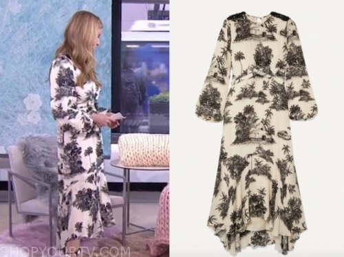 jill martin, the today show, ivory and black printed midi dress