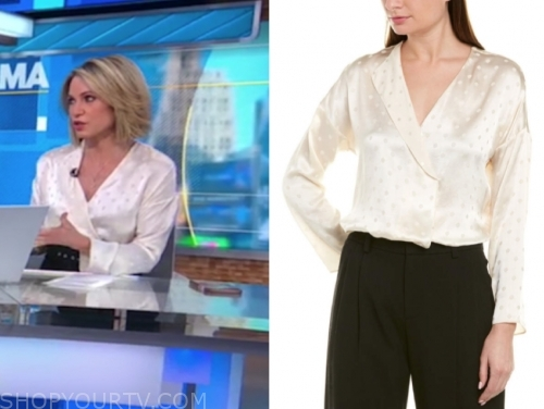 amy robach, gma, ivory satin dot blouse