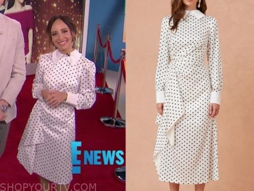 lilliana vazquez, e! news, polka dot midi dress